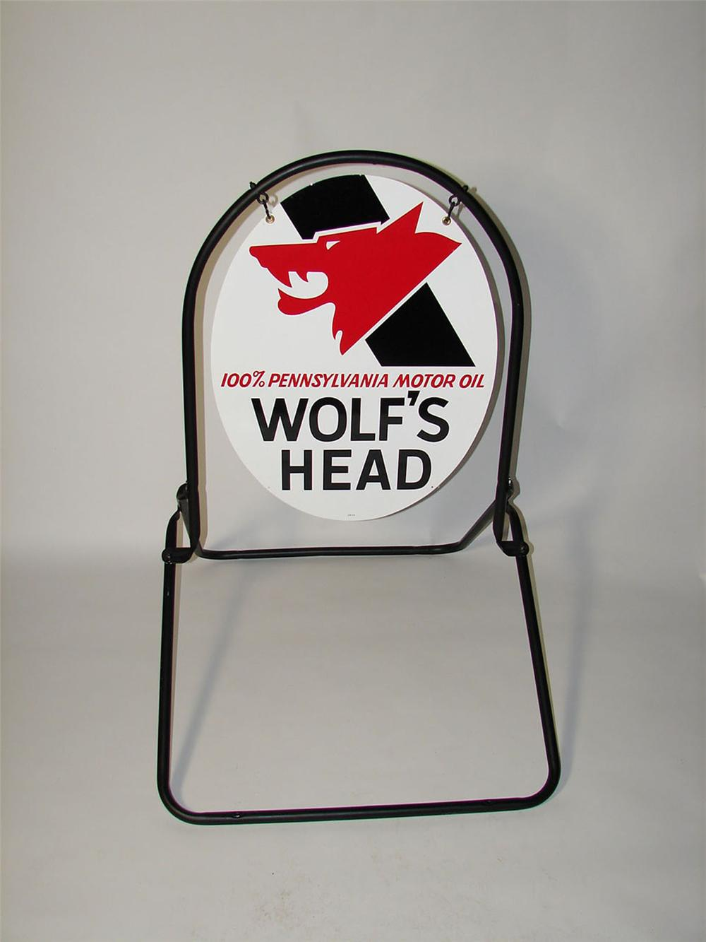 N.O.S. Wolfs Head Motor Oil double-sided tin painted curb sign pulled out of the original box. - Front 3/4 - 116826