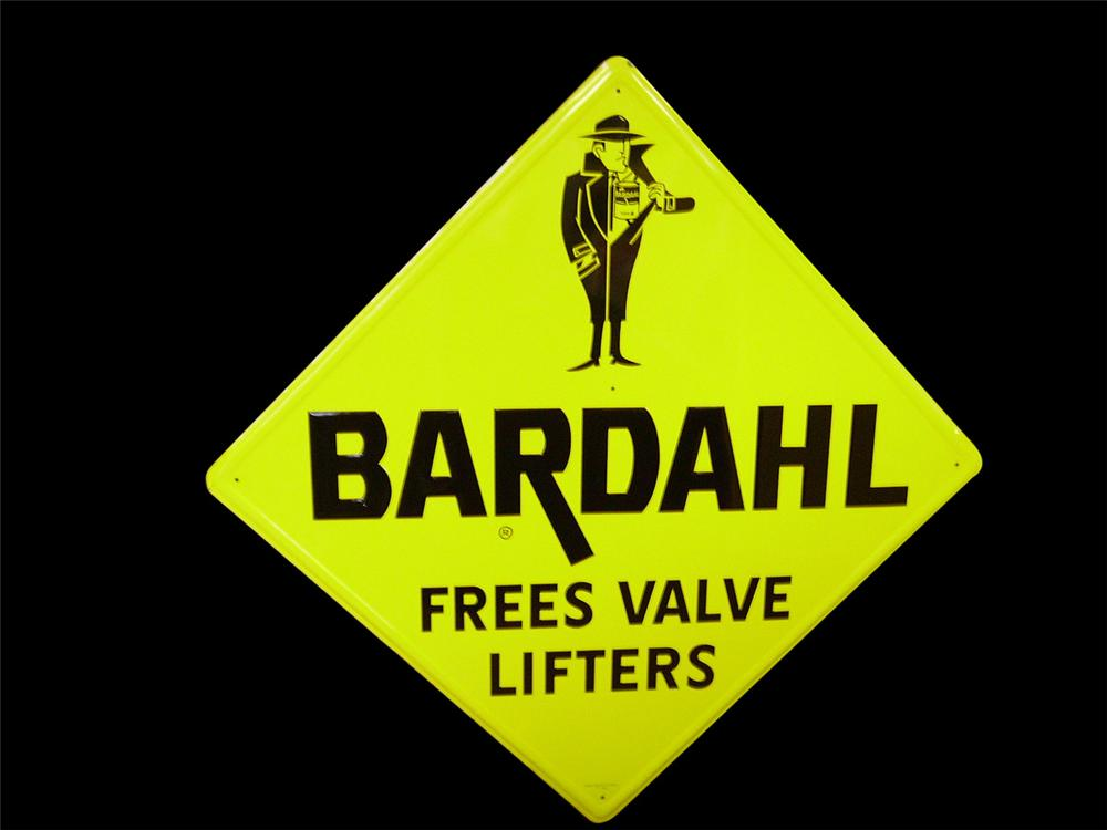 Sensational N.O.S. 1966 Bardahl Free Valve Lifters embossed tin automotive garage sign. - Front 3/4 - 116827