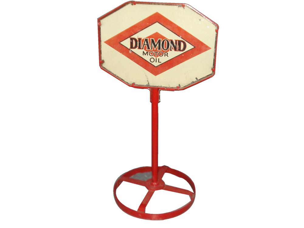 Hard to find 1930s DX Diamond Motor Oil double-sided porcelain service station curb sign. - Front 3/4 - 116828