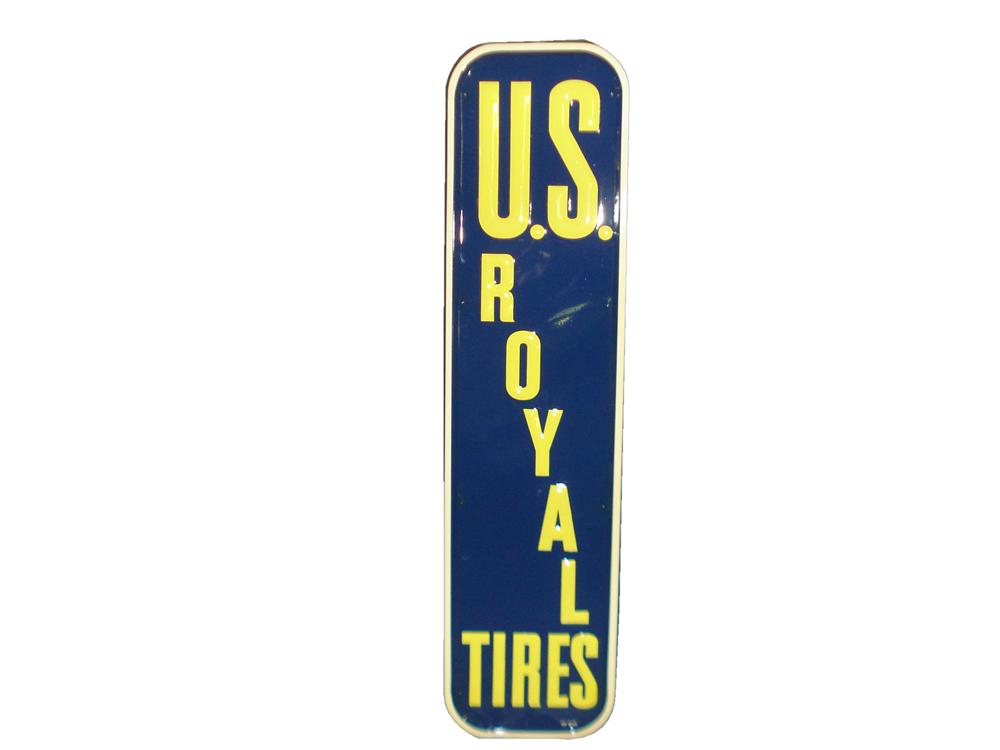 Very clean N.O.S. 1950 U.S. Royal Tires self-framed vertical tin garage sign with embossed lettering. - Front 3/4 - 116829