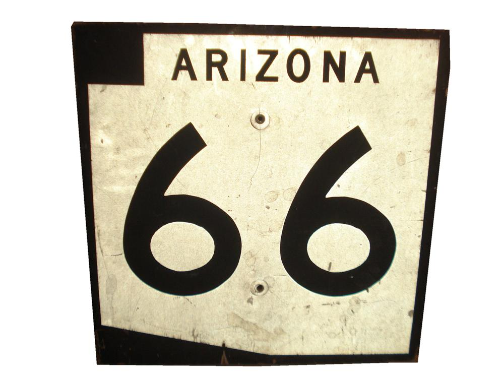 Highly desirable Arizona Route 66 highway road sign. - Front 3/4 - 116833