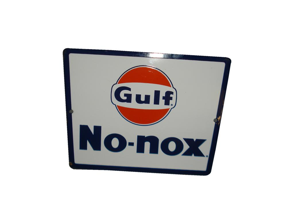 N.O.S. late 1950s-60s Gulf No-Nox porcelain pump plate sign. - Front 3/4 - 116839