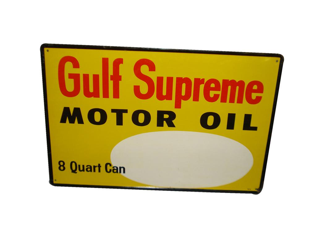N.O.S. 1965 Gulf Supreme Motor Oil tin painted service station price sign. - Front 3/4 - 116840