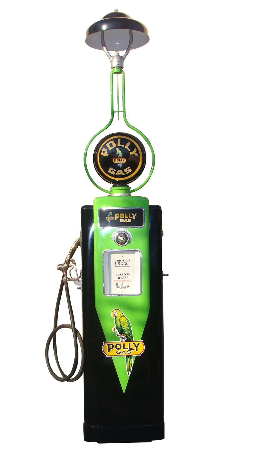 Absolutely stunning restored 1940s Polly Oil Wayne model #70 service station gas pump with station lighter unit attached. - Front 3/4 - 116844