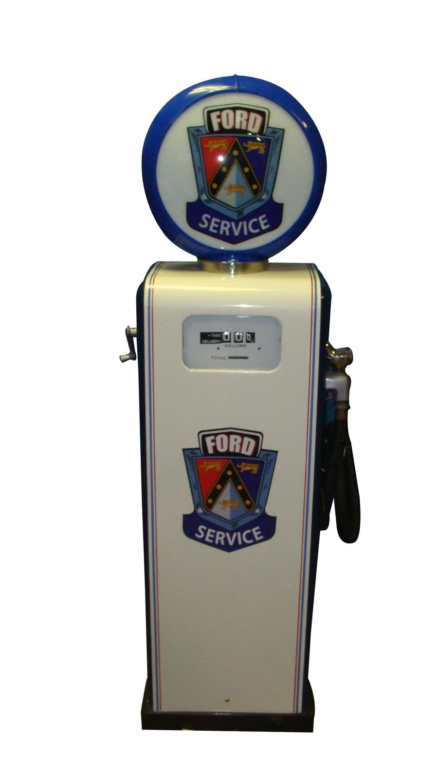 Neat 1950s Ford Auto-Dealership Gas Boy restored service department gas pump. - Front 3/4 - 116846