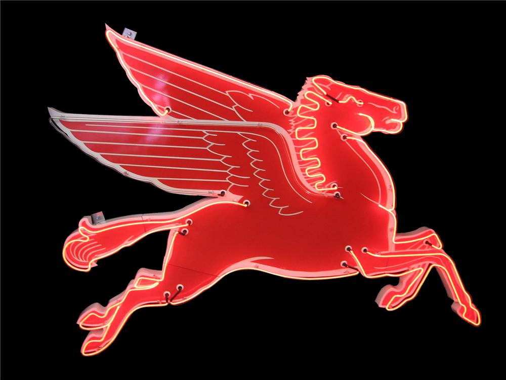 1950s Mobil Oil Pegasus porcelain neon service station sign with animated neon. - Front 3/4 - 116852