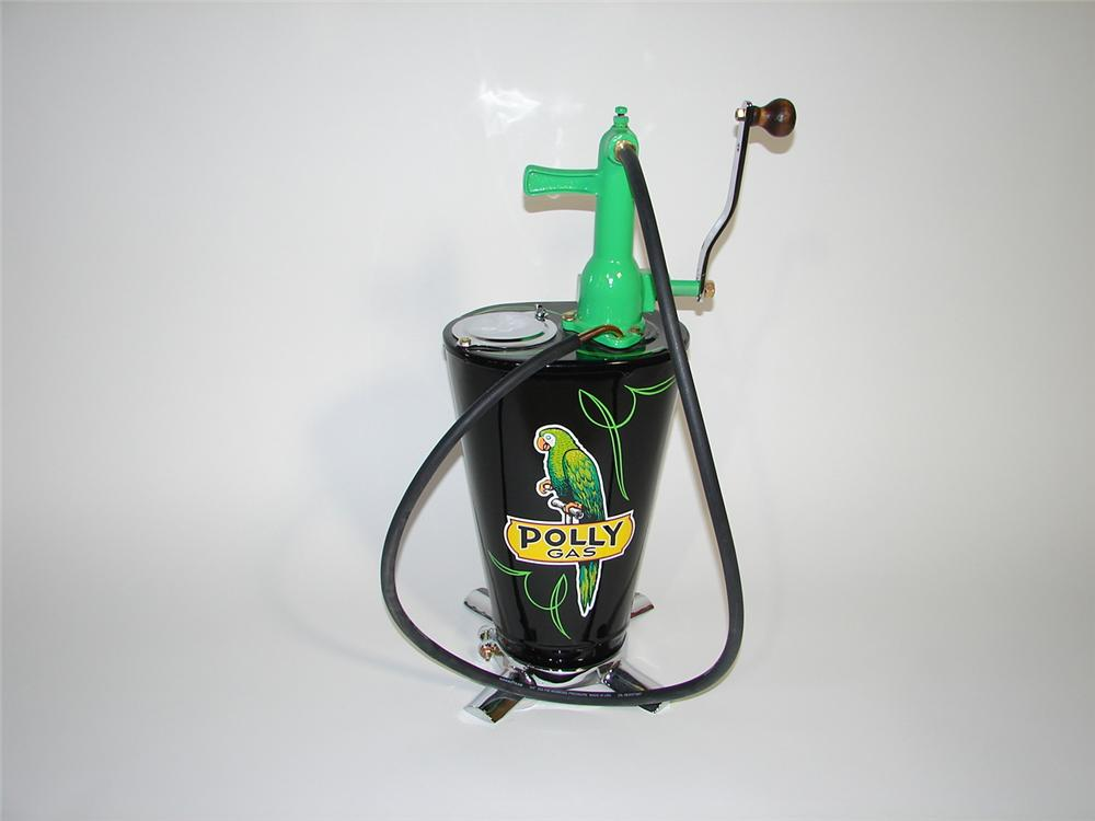 Exceptional 1920s-30s Polly Oil service station five gallon hand crank lubester. - Front 3/4 - 116868