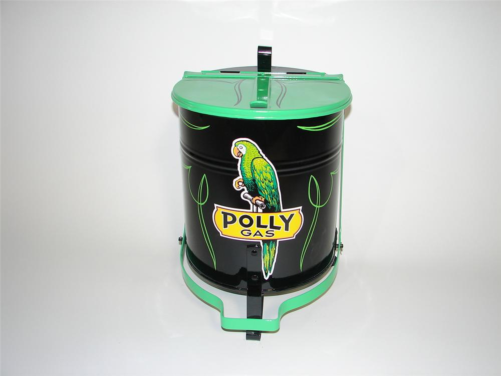 Neat 1940s Polly Oil restored service department oil rag can with foot lever. - Front 3/4 - 116869