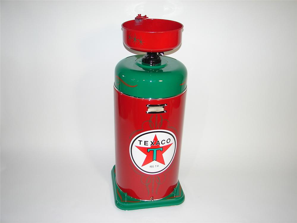 Fabulous restored 1940s-50s Texaco Oil service department oil collector on wheels. - Front 3/4 - 116871
