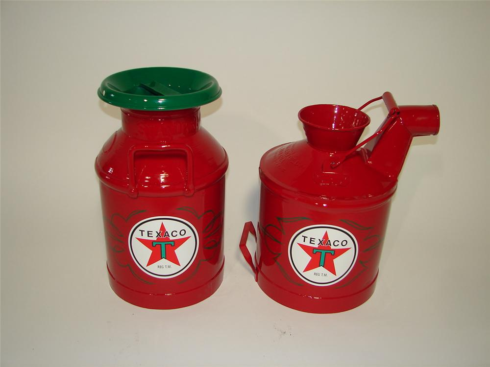 Lot of two fantastically restored vintage Texaco oil/gas cans that have been professionally restored. - Front 3/4 - 116873