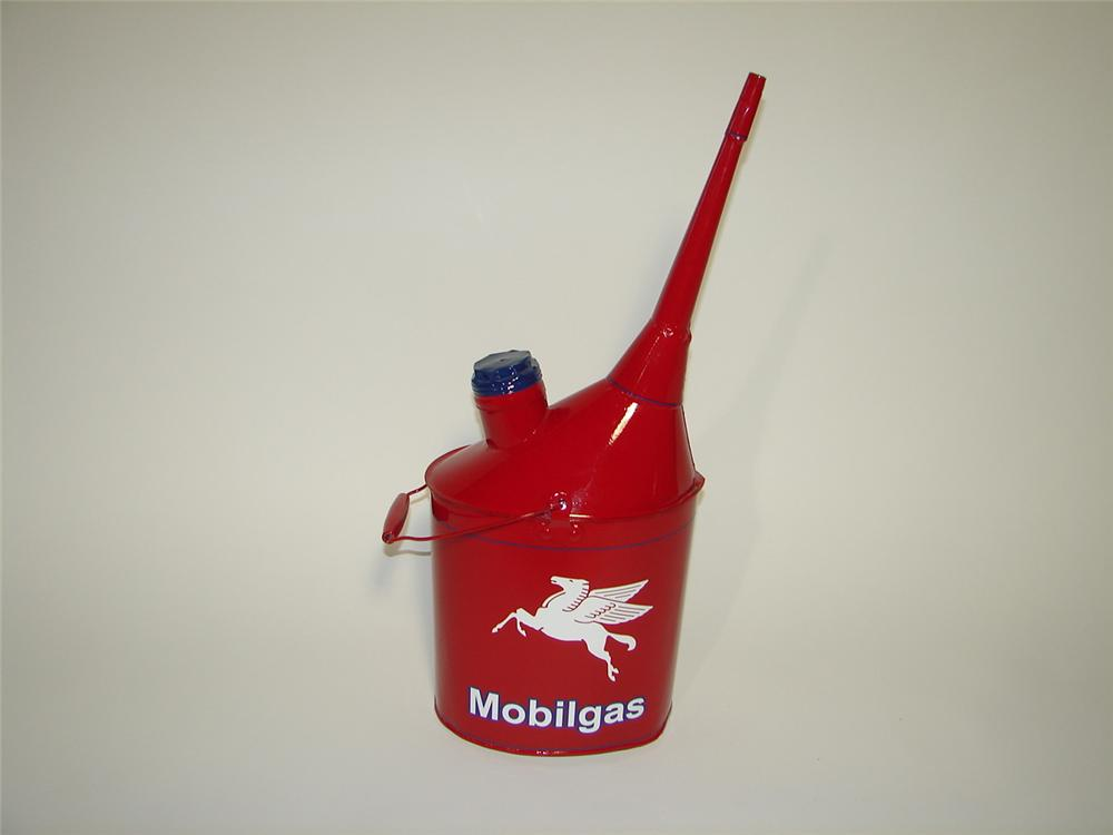 Rarely seen 1930s Mobilgas restored two-gallon oil can with fluted spout. - Front 3/4 - 116876