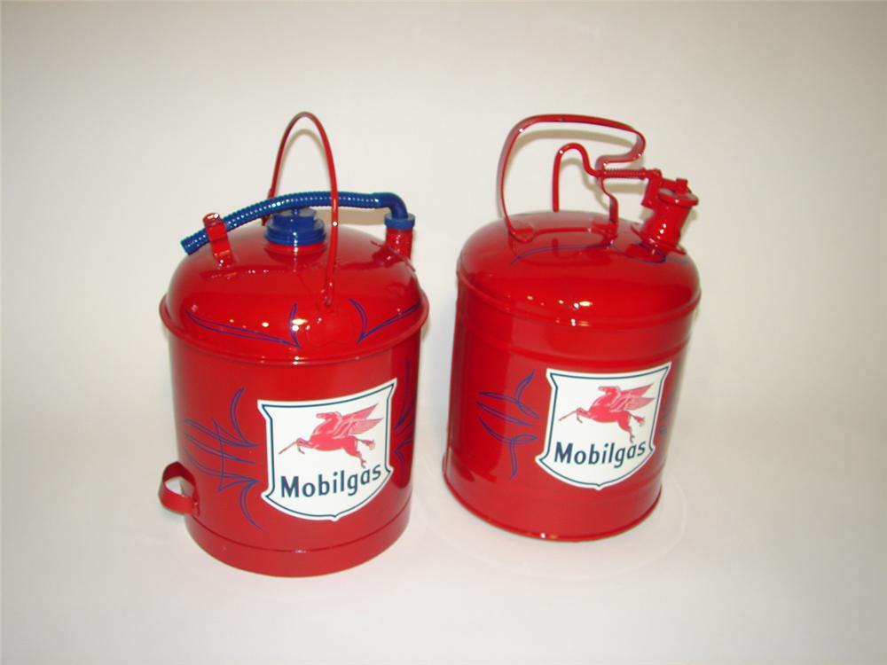 Lot of two restored 1940s-50s Mobil Oil service station gas/oil cans. Very nice. - Front 3/4 - 116878