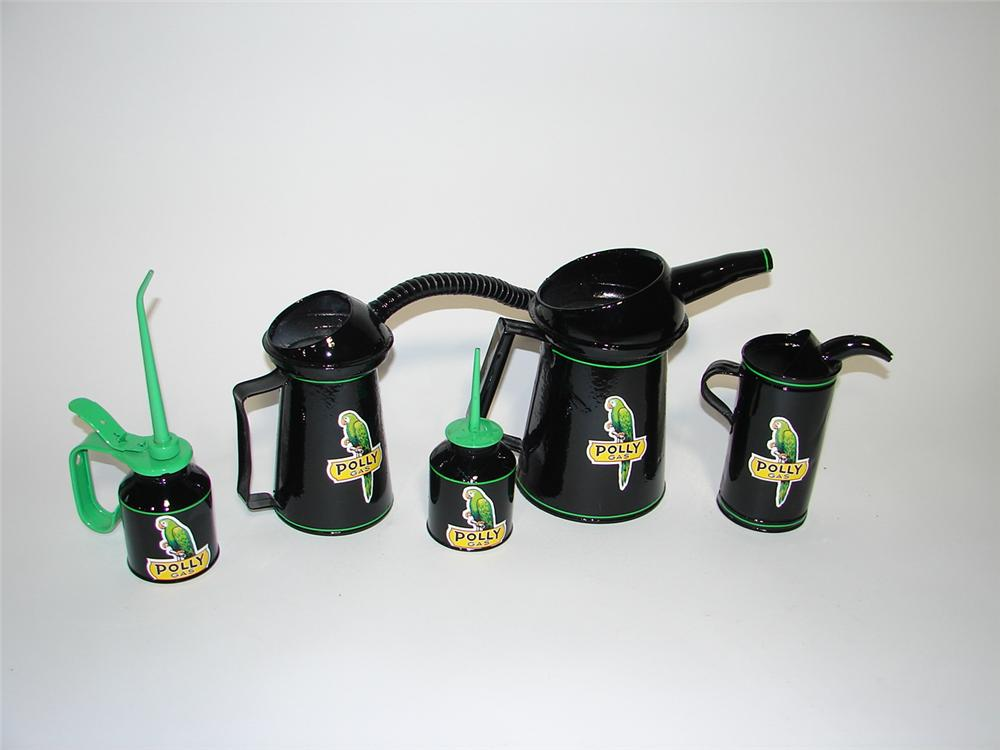 Lot of five restored circa 1930s-50s Polly Oil service department oil/fluid cans. - Front 3/4 - 116881