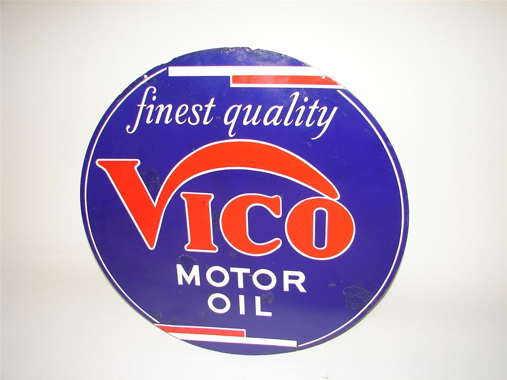 Immensely hard to find 1930s Vico Motor Oil of Utah double-sided porcelain station sign. - Front 3/4 - 116890