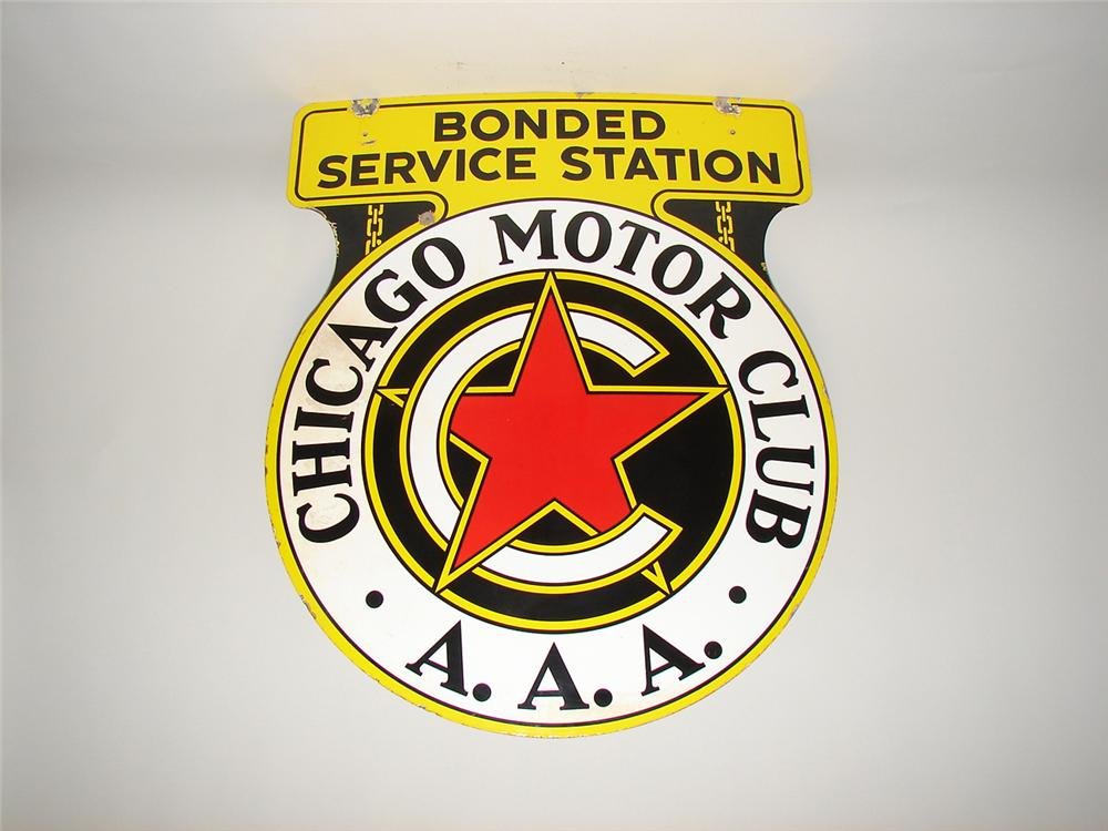 Marvelous 1940s Chicago Motor Club double-sided porcelain automotive garage sign. - Front 3/4 - 116891
