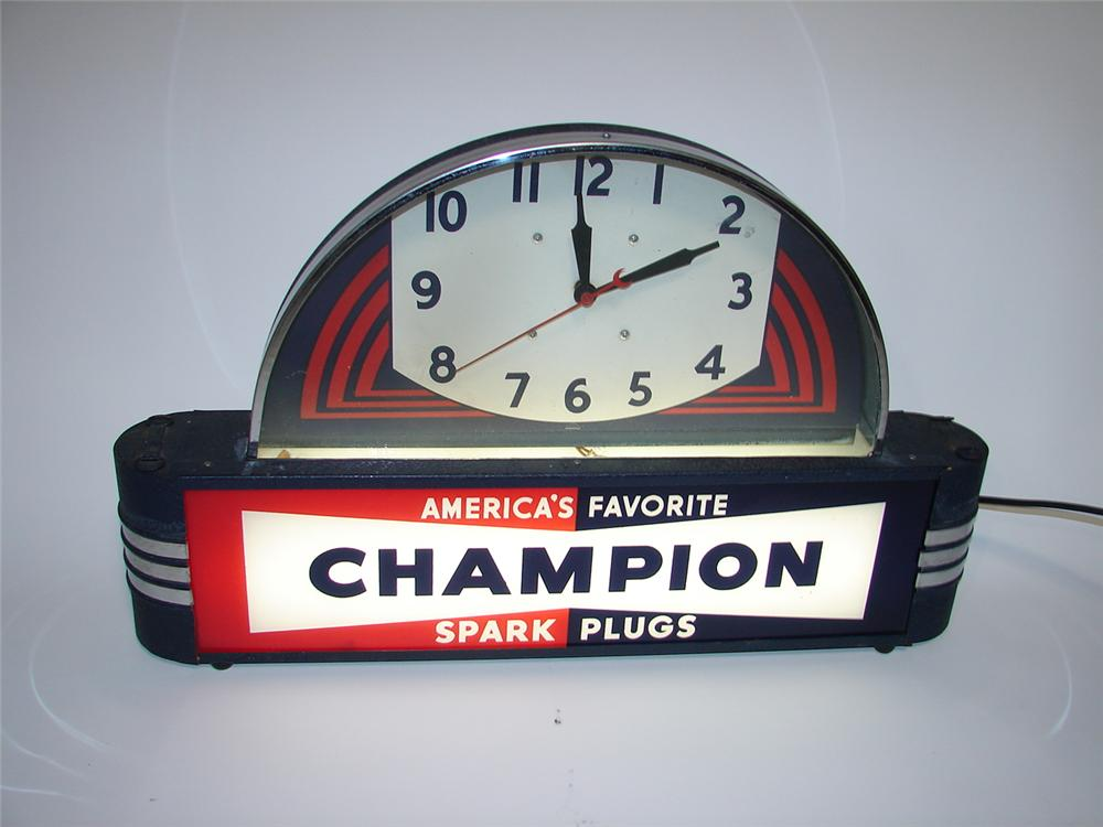 Gorgeous 1930s Champion Spark Plugs light-up garage clock. - Front 3/4 - 116894