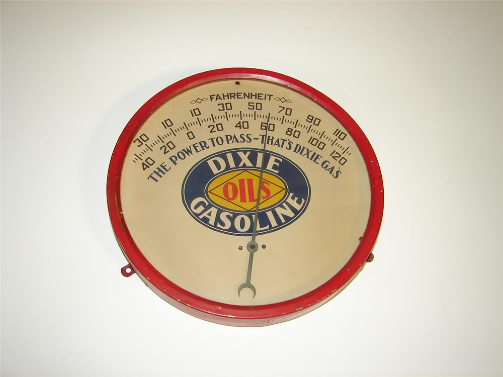 Rare 1920s Dixie Oils brass glass faced service station thermometer. - Front 3/4 - 116897