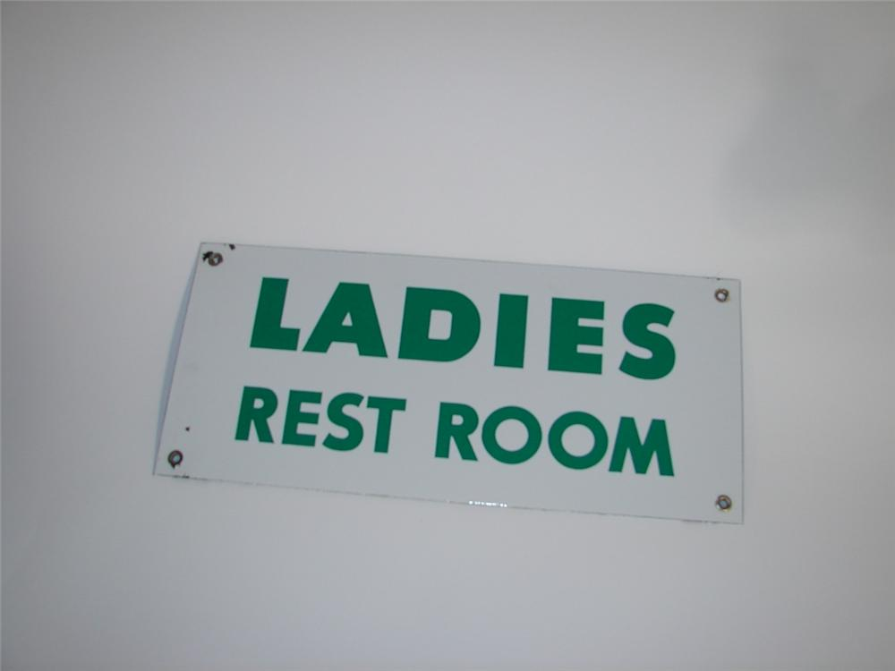 1950s Ladies Rest Room single-sided porcelain service station sign. - Front 3/4 - 116901