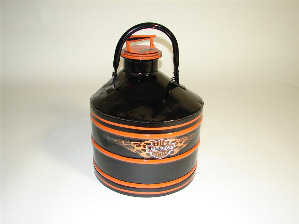 Very cool 1930s Progress Manufacturing five gallon service department oil/fluid can restored in Harley Davidson regalia. - Front 3/4 - 116912