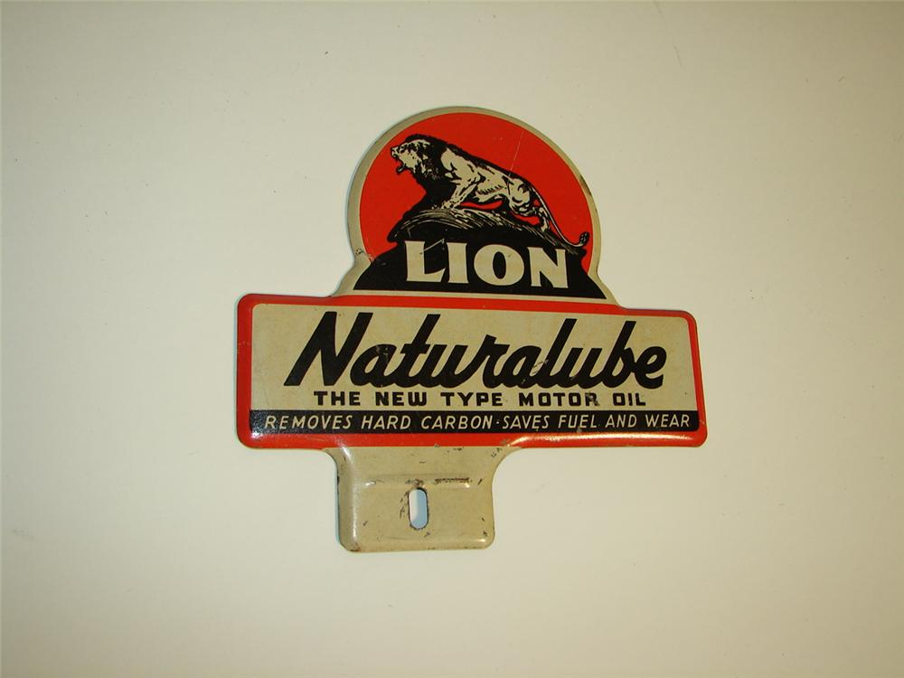 Unusual 1930s-40s Lion Naturalube Motor Oil license pectin attachment sign with nice graphics. - Front 3/4 - 116915
