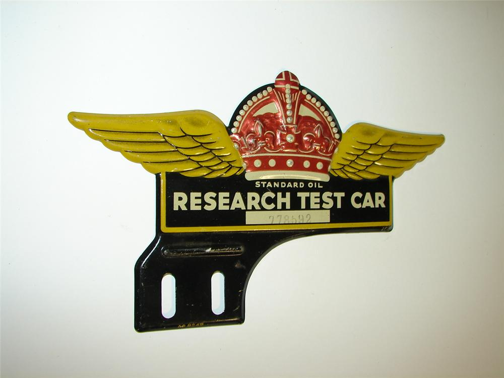 """Remarkable 1930s Standard Oil """"Research Test Car"""" license plate attachment with winged Red Crown logo. - Front 3/4 - 116917"""