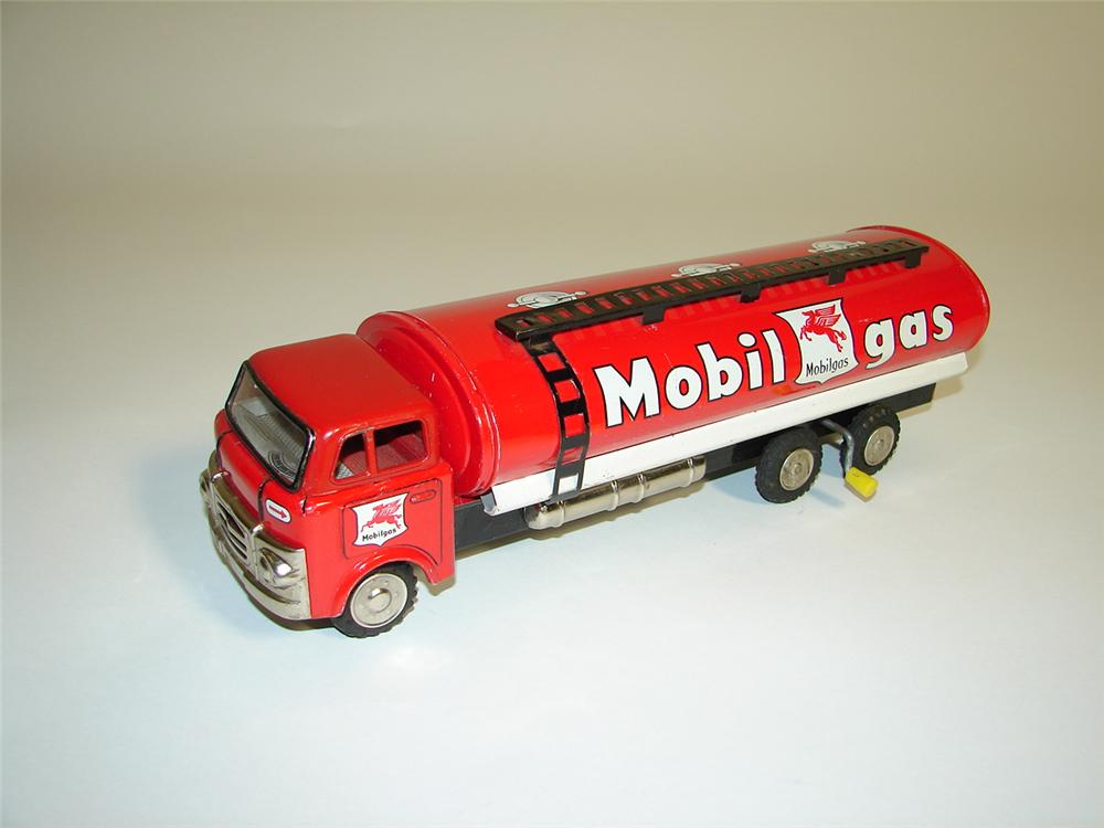 "Neat 1960s Mobilgas pressed steel (Japan) toy tanker truck.12""x5""x5"" - Front 3/4 - 116918"