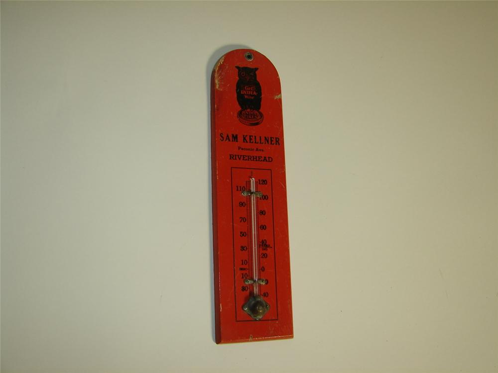 1920s India Tires (Ohio) automotive garage wooden thermometer with Get-India-Wise Owl logo. - Front 3/4 - 116919