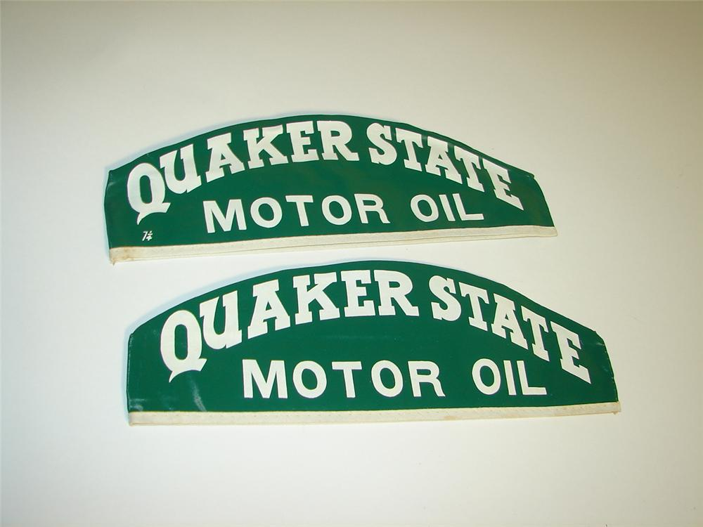 Lot of two N.O.S. 1940s-50s Quaker State Motor Oil service garage mechanic hats. - Front 3/4 - 116920