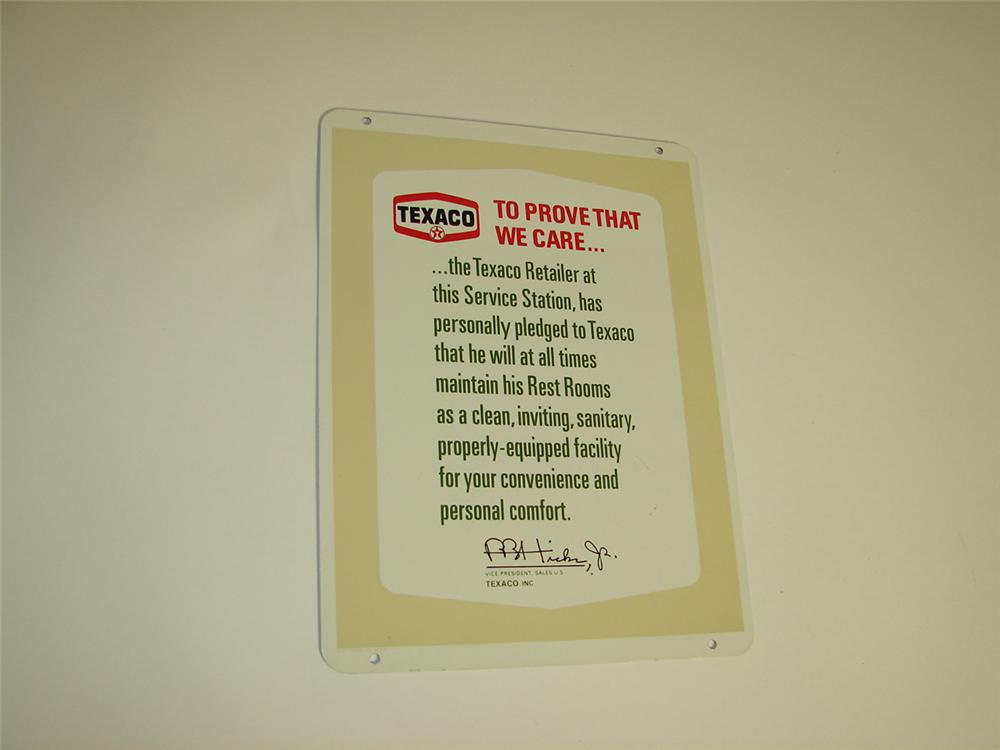 "N.O.S. late 1950s-60s Texaco Oil double-sided tin service station ""Clean Rest Room Pledge"" sign. - Front 3/4 - 116922"