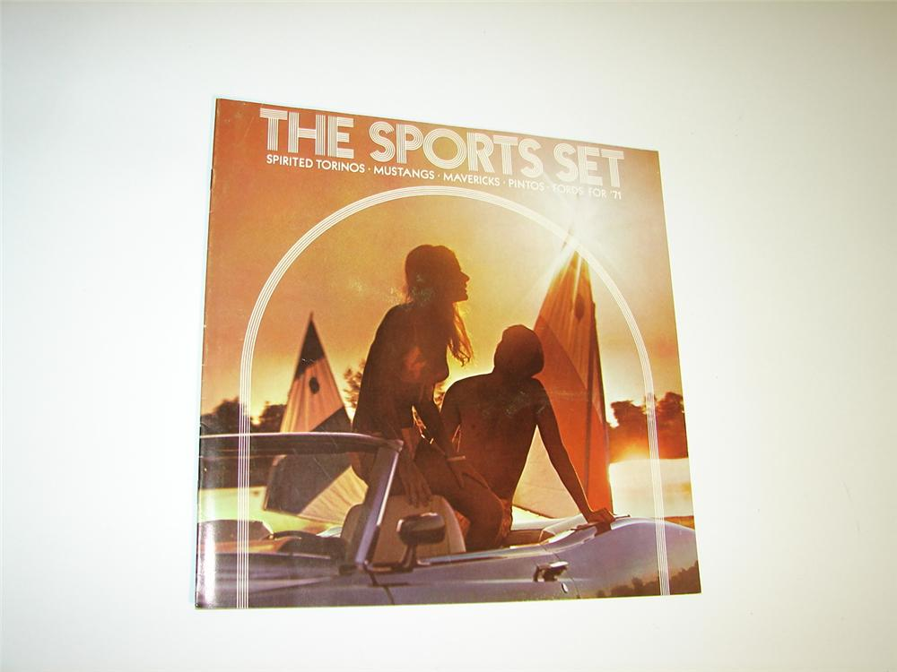 "N.O.S. Ford ""The Sports Set for 1971"" sixteen page color sales brochure for Mustangs, Torinos, Mavericks and Pintos. - Front 3/4 - 116924"