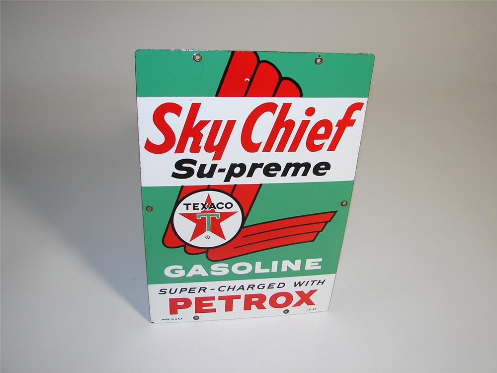N.O.S. early 1960s Texaco Sky Chief Supreme porcelain pump plate sign. - Front 3/4 - 116931
