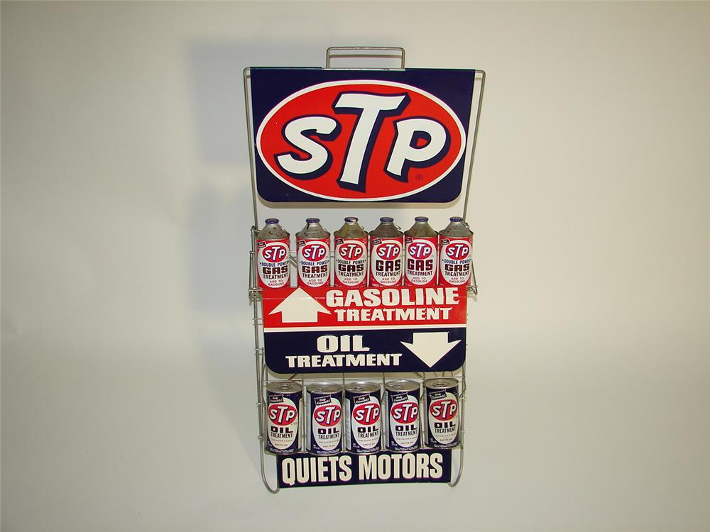 Outstanding 1960s STP Engine Treatment automotive garage display racked filled with N.O.S. cans. - Front 3/4 - 116937