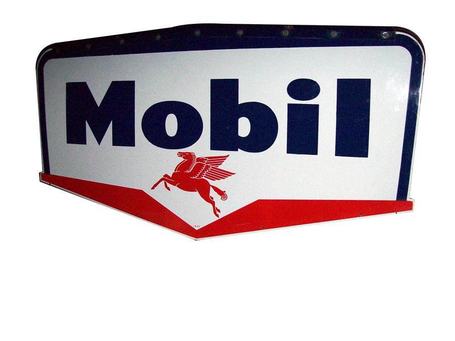 Near perfect 1957 Mobil Oil double-sided porcelain service station sign with original hanger. - Front 3/4 - 116952