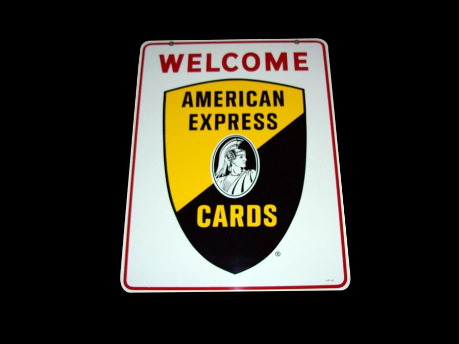 Very clean American Express double-sided tin painted service station sign. - Front 3/4 - 116953