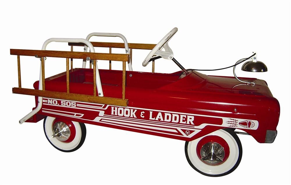 Neat 1960s fully restored AMF Hood and Ladder Fire Truck pedal car. A classic complete with bell and wooden ladders. - Front 3/4 - 116974