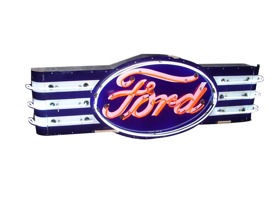 Iconic 1930s Ford Automobiles single-sided neon porcelain dealership oval sign with wings. - Front 3/4 - 116978