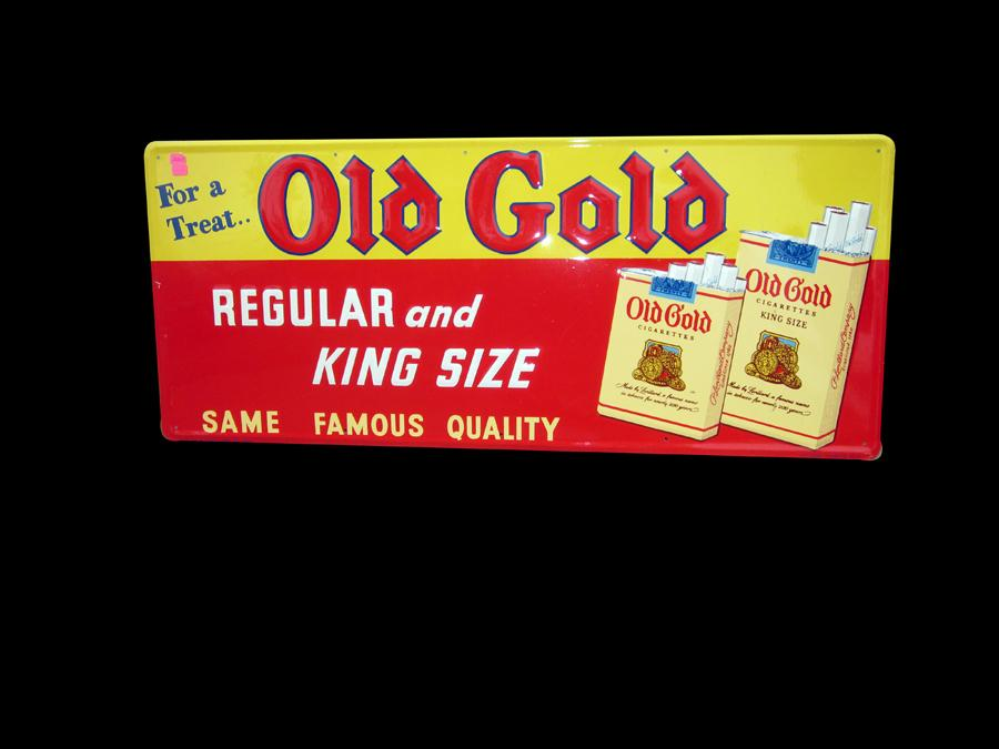 Circa 1930s N.O.S. Old Gold Cigarettes horizontal embossed tin general store sign. - Front 3/4 - 116980