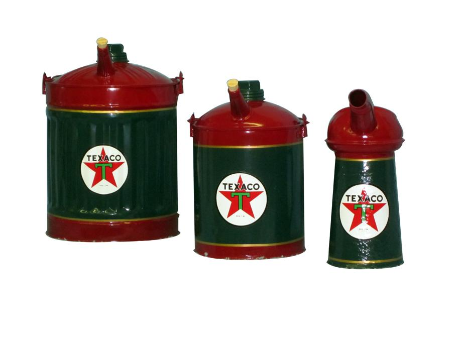 Lot of three beautifully restored circa 1930s Texaco Oil service station oil/fluid cans. - Front 3/4 - 116983