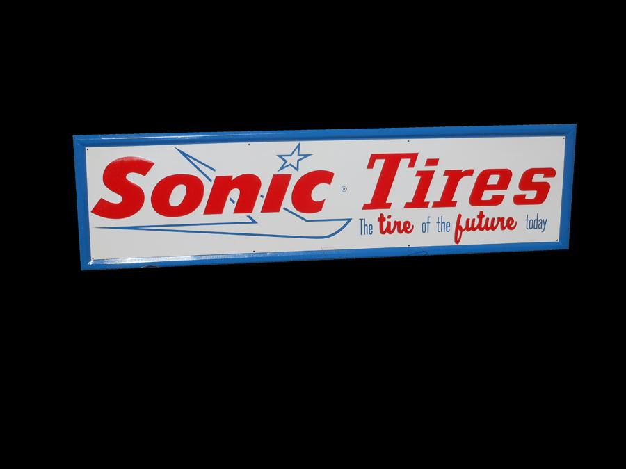 N.O.S. Sonic Tires single-sided self-framed automotive garage sign. - Front 3/4 - 116986