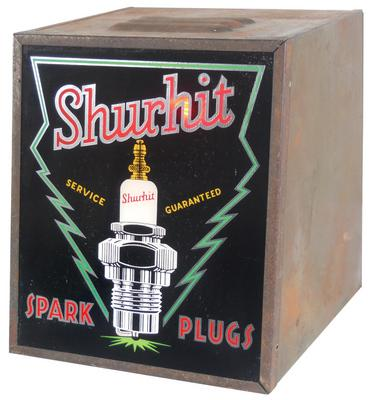 Killer 1930s Shurhit Spark Plugs light-up counter display sign. Very neat with plug flashing as if spark is firing. - Front 3/4 - 116987