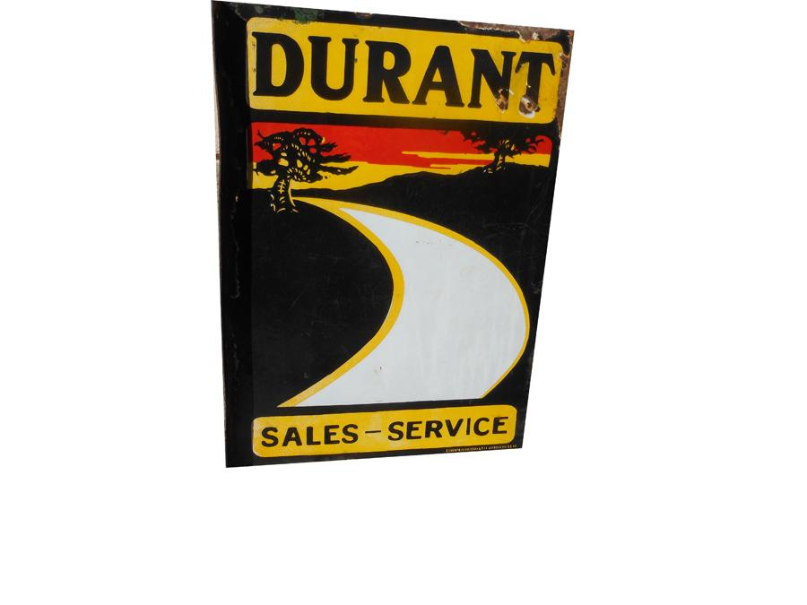Extremely rare late 1920s Durant Automobiles Sales and Service double-sided porcelain dealership flange sign. - Front 3/4 - 116988