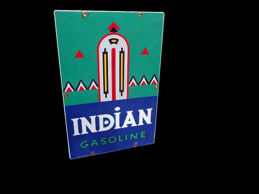 Very desirable 1940 Texaco Indian Gasoline porcelain pump plate sign with art deco styling. - Front 3/4 - 116989
