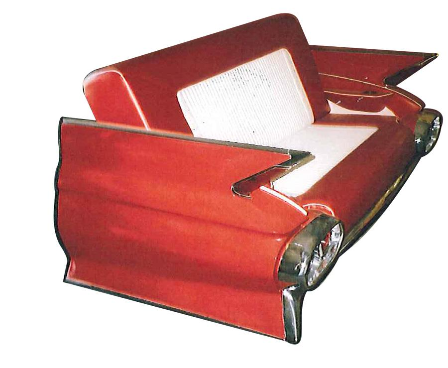 Superlative 1961 Cadillac car couch made from an original rear end. - Front 3/4 - 116997