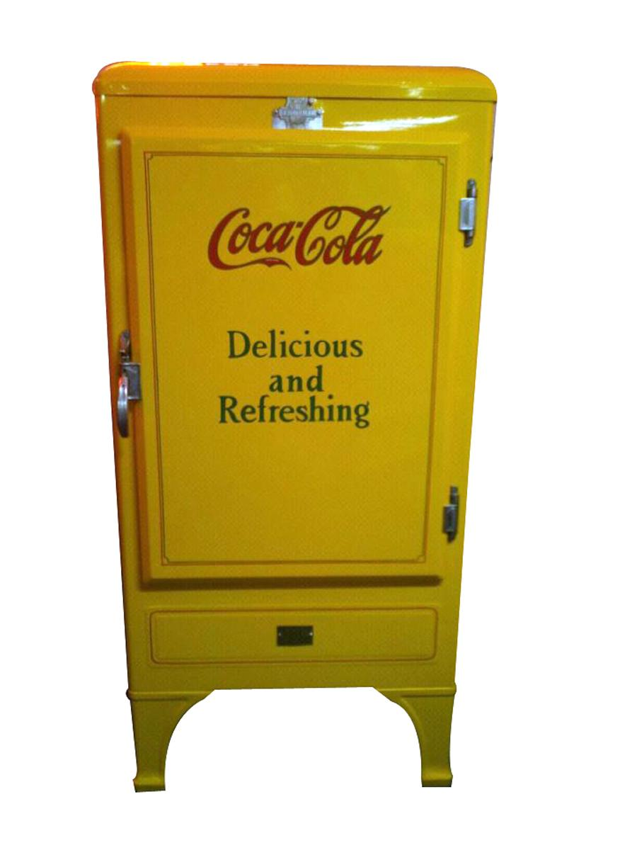 Original 1930s Frigidaire Coca-Cola fridge from the bottling plant in Spokane Washington. - Front 3/4 - 117021