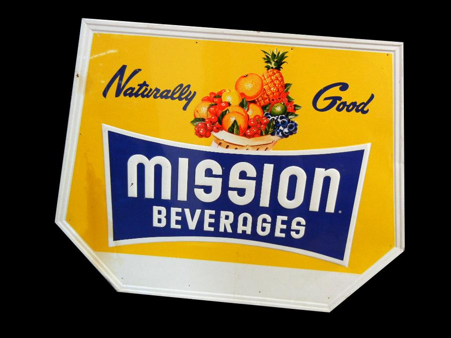"Colorful 1950s Mission Beverages Soda ""Naturally Good"" self-framed tin sign. - Front 3/4 - 117024"