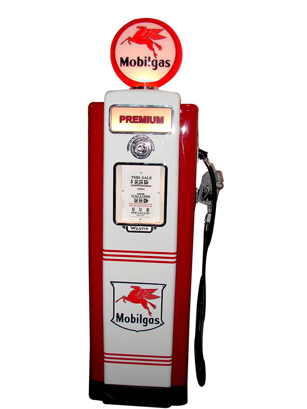Gorgeous late 1940s-early 50s Mobil Oil Wayne model #70 restored service station gas pump. - Front 3/4 - 117038