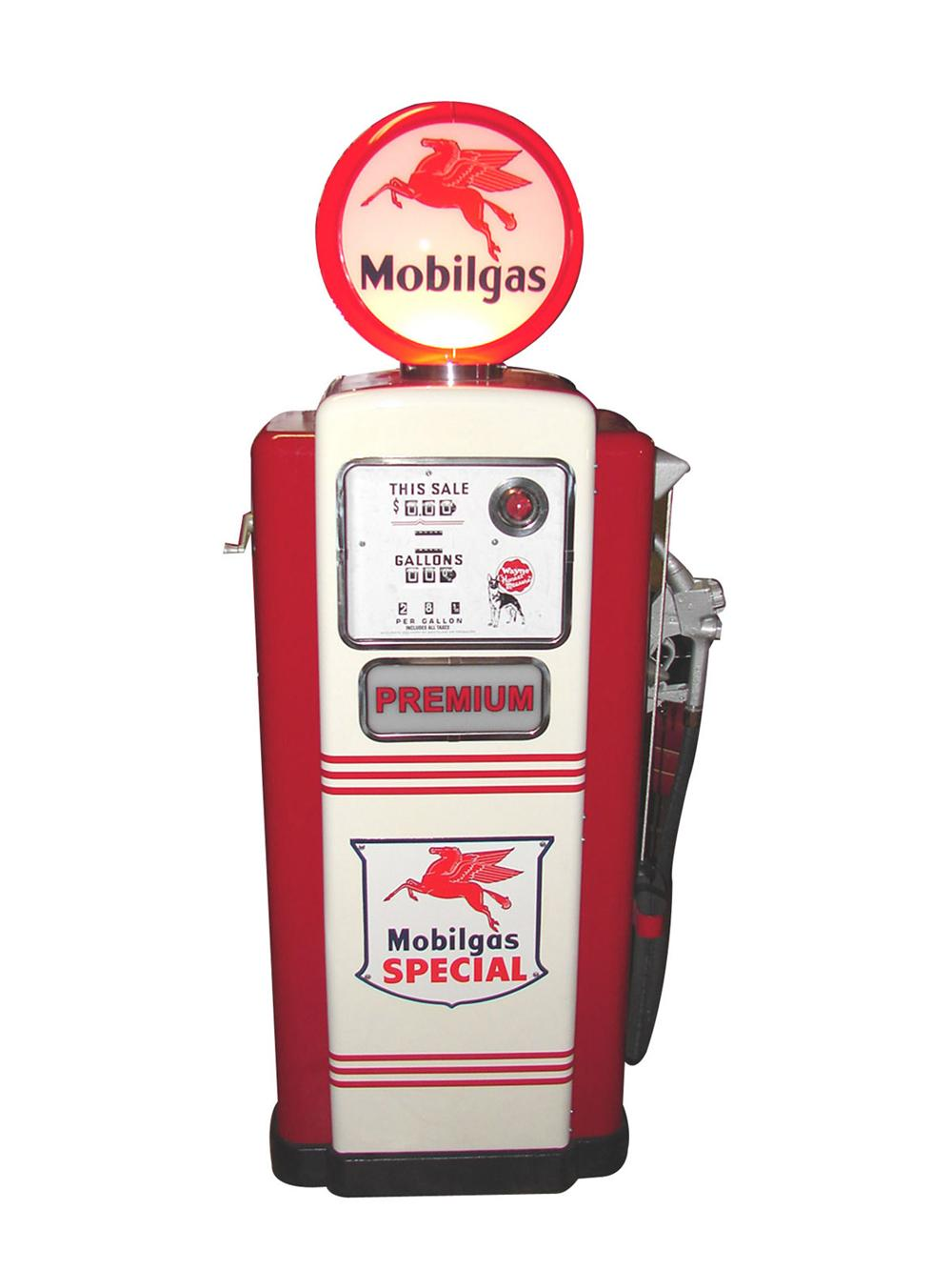 Sensational 1950s Mobil Oil Wayne model #100 restored service station gas pump. - Front 3/4 - 117039