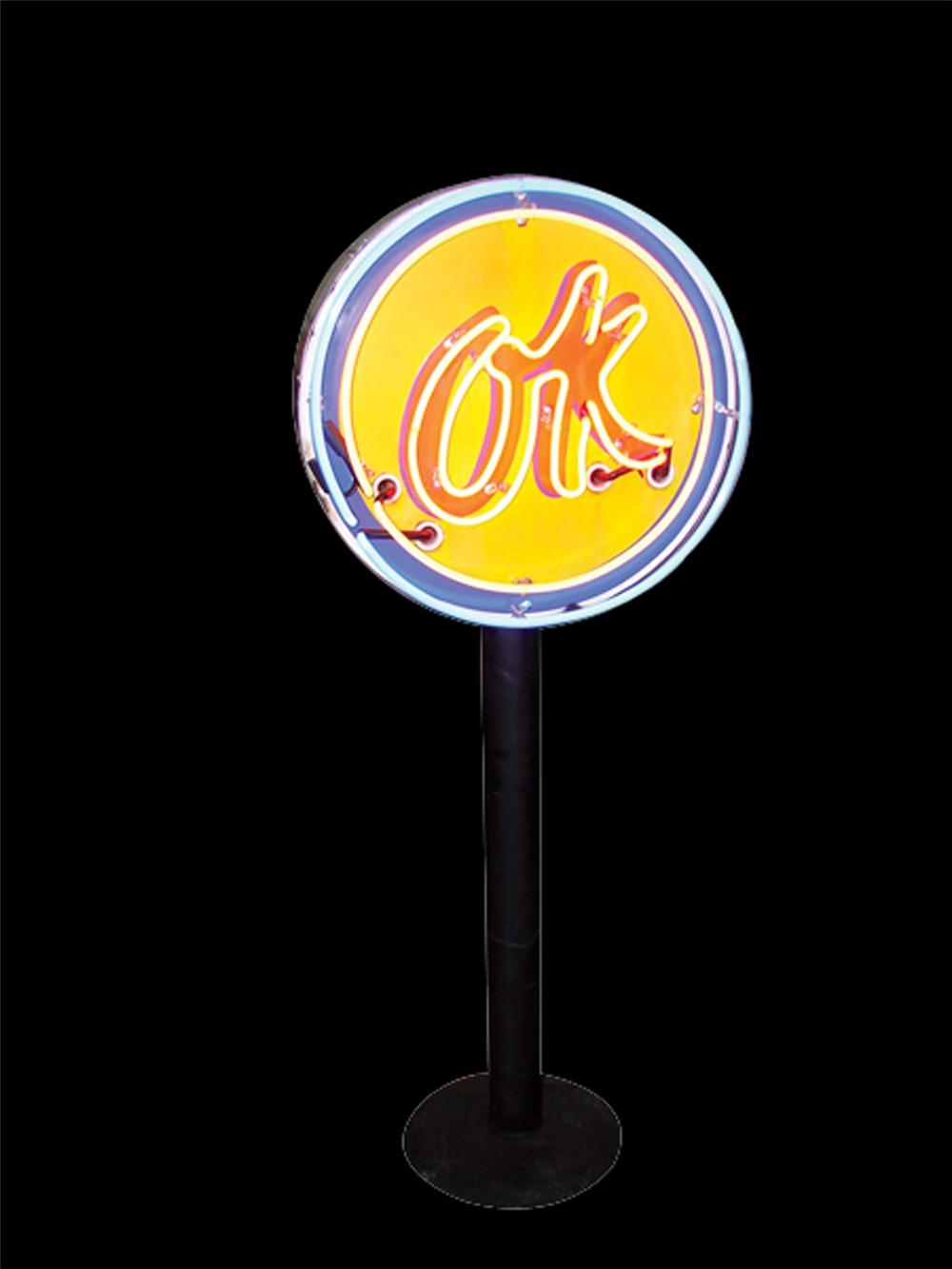 Wonderful 1950s Chevrolet OK Used Cars single-sided porcelain neon sign on stand. - Front 3/4 - 117046