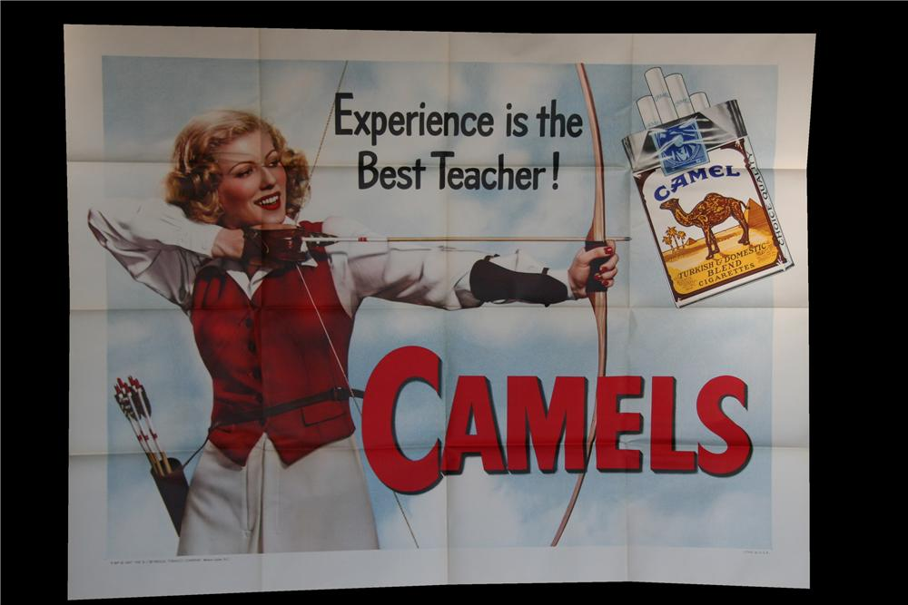 """Striking N.O.S. 1948 Camel Cigarettes """"Experience Is The Best Teacher"""" advertisement poster of a lady practicing archery. - Front 3/4 - 117048"""