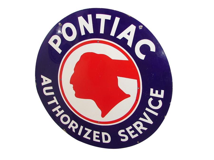 """Sharp 1940s-50s Pontiac single-sided porcelain dealership sign with Chieftain logo.  Condition: Excellent++  Size 42"""" Diameter - Front 3/4 - 117049"""